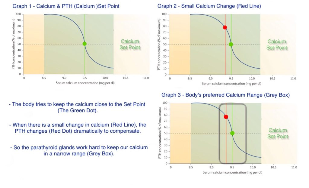3 graphs depicting changes in Calcium and PTH